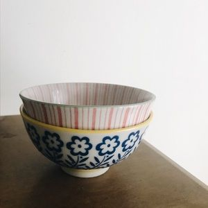 Anthropologie small bowls floral striped